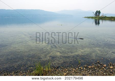 Lake at a camping ground in hazy weather