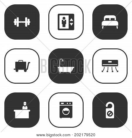Collection Of Bathtub, Rest Time, Washer Machine And Other Elements.  Set Of 9 Motel Icons Set.