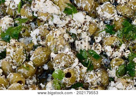 olives marinade close up, many olives, green olive marinade, olives, olives and cheese, herbes