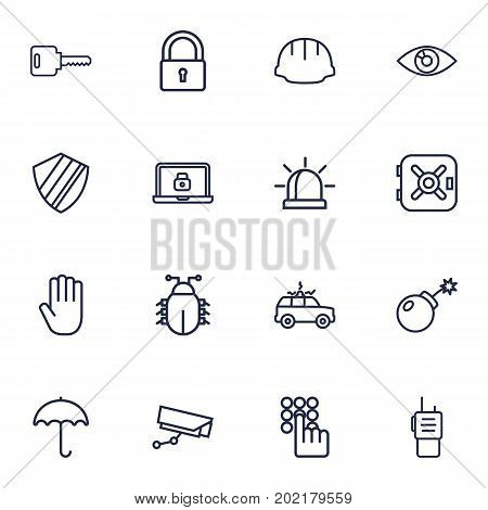 Collection Of Helmet, Protection, Walkie-Talkie And Other Elements.  Set Of 16 Security Outline Icons Set.