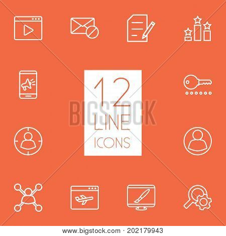 Collection Of Stock Exchange, Video Marketing, Style And Other Elements.  Set Of 12 Optimization Outline Icons Set.