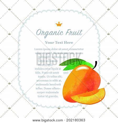 Colorful Watercolor Texture Nature Organic Fruit Memo Frame Mango