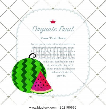 Colorful Watercolor Texture Nature Organic Fruit Memo Frame Red Water Melon