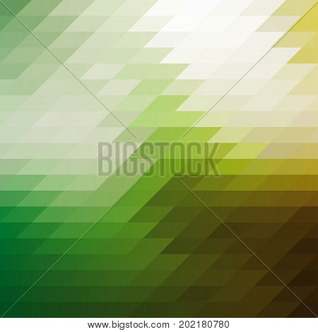 Mosaic background. Green and yellow geometric mosaic. Vector illustration.