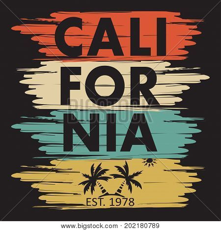 California typography for design clothes t-shirts. Palm sun. Graphics for print product. Vector illustration.