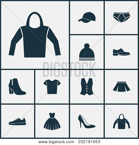 Garment Icons Set. Collection Of Elegance, Stylish Apparel, Sarafan And Other Elements