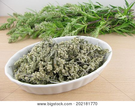 Fresh and dried mugwort on a wooden board
