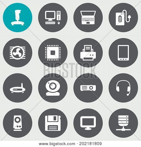 Collection Of Diskette, Display, Notebook And Other Elements.  Set Of 16 Laptop Icons Set.