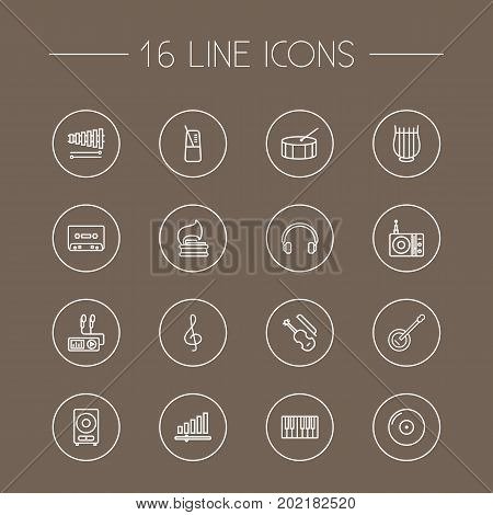 Collection Of Guitar, Loudspeaker, Turntable And Other Elements.  Set Of 16 Melody Outline Icons Set.