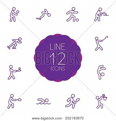 Collection Of Ice Skating, Batting, Soccer And Other Elements.  Set Of 12 Sport Outline Icons Set.