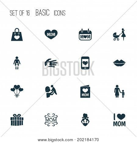 Mothers Day Icon Design Concept. Set Of 16 Such Elements As Helping, Mam And Nanny