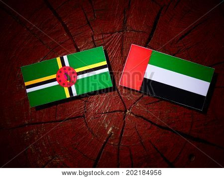 Dominica Flag With United Arab Emirates Flag On A Tree Stump Isolated
