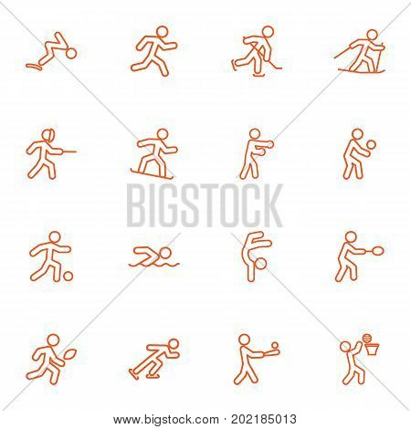 Collection Of Ice Skating, Box, Swimming And Other Elements.  Set Of 16 Athletic Outline Icons Set.