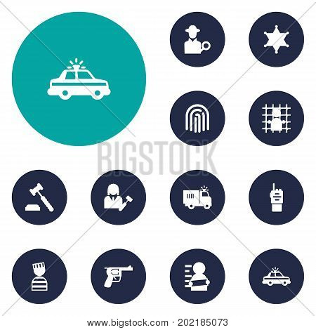 Collection Of Lawyer, Jail, Police Car And Other Elements.  Set Of 12 Crime Icons Set.