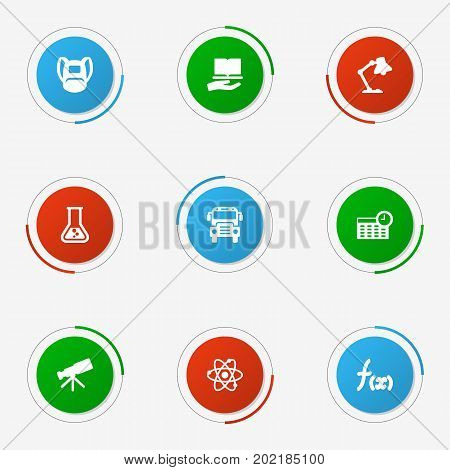 Collection Of Table Light, Formula, Autobus And Other Elements.  Set Of 9 Knowledge Icons Set.