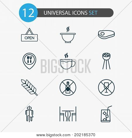 Eating Icons Set. Collection Of Board, Lemon Juice, Bowl And Other Elements