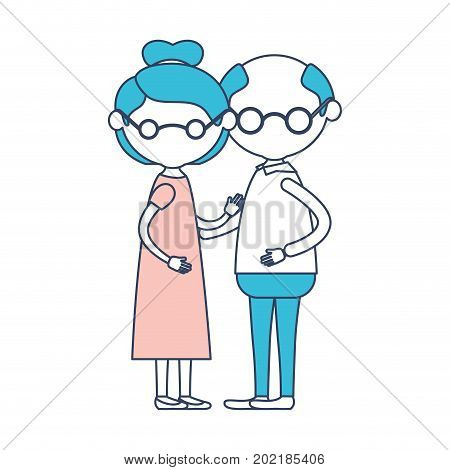 caricature faceless full body elderly couple grandmother with glasses and bun collected hairstyle in dress and grandfather with glasses in color section silhouette vector illustration