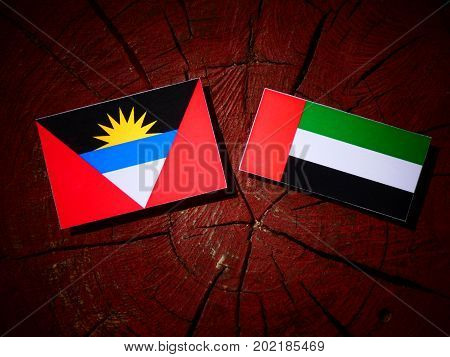 Antigua And Barbuda Flag With United Arab Emirates Flag On A Tree Stump Isolated