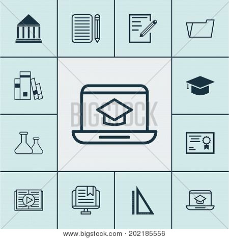Education Icons Set. Collection Of Certificate, Document Case, Home Work And Other Elements