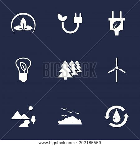 Collection Of Reforestation, Leaf, Saving And Other Elements.  Set Of 9 Ecology Icons Set.