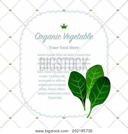 Colorful Watercolor Texture Nature Organic Fruit Memo Frame Spinach