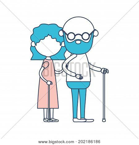 caricature faceless full body elderly couple with glasses in walking stick and grandmother with wavy short hairstyle in dress and bald grandfather with glasses in color section silhouette vector illustration