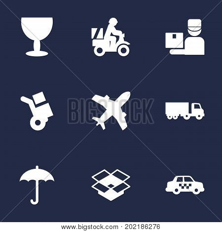 Collection Of Goblet, Truck, Cab And Other Elements.  Set Of 9 Cargo Icons Set.