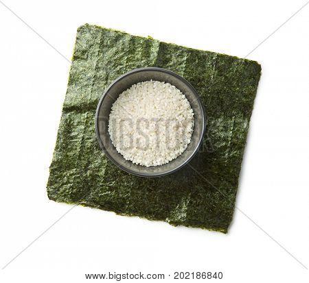Green nori sheet and rice. Sushi ingredients.
