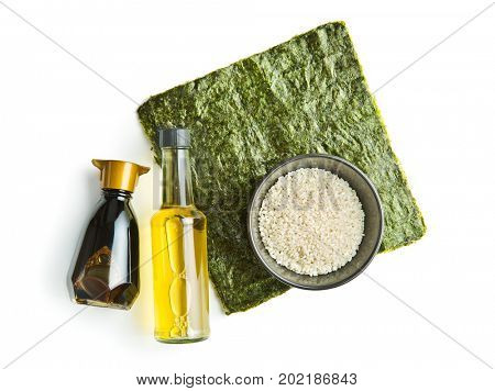 The sushi ingredient. Nori, rice, rice vinegar and soy sauce.