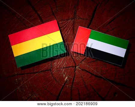 Bolivian Flag With United Arab Emirates Flag On A Tree Stump Isolated