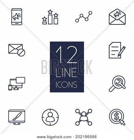 Collection Of Wrench, Stock Exchange, Targeting And Other Elements.  Set Of 12 Search Outline Icons Set.