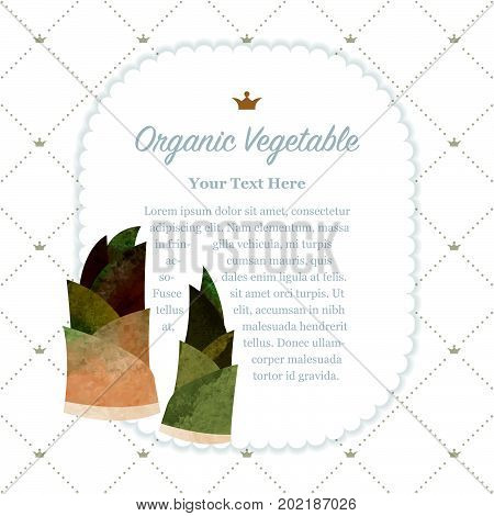 Colorful Watercolor Texture Nature Organic Fruit Memo Frame Bamboo Shoots