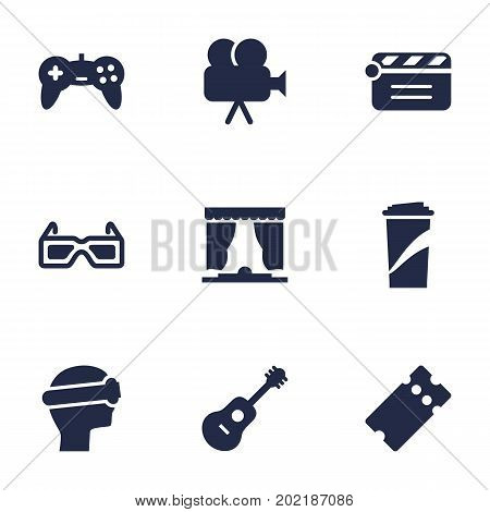 Collection Of Beverage, Spectacles, Curtain And Other Elements.  Set Of 9 Entertainment Icons Set.