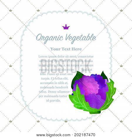 Colorful Watercolor Texture Nature Organic Fruit Memo Frame Purple Cauliflower