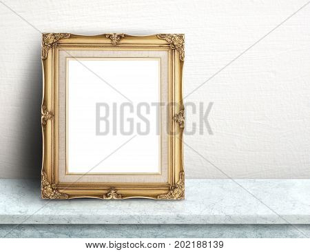 Blank Gold Victorian Picture Frame On White Marble Table At White Tile Wall,template Mock Up For Add