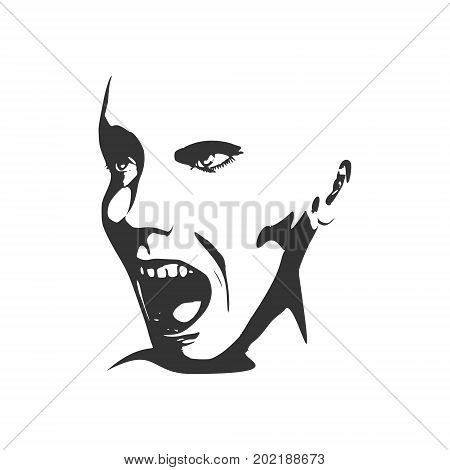 Human emotions expression vector illustration. Isolated avatar of the expressions face. Emotional head illustration. Terrified person