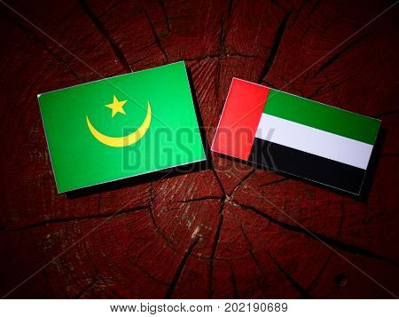 Mauritania Flag With United Arab Emirates Flag On A Tree Stump Isolated
