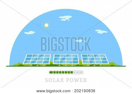 picture of solar batteries, flat style concept banner of renewable solar energy