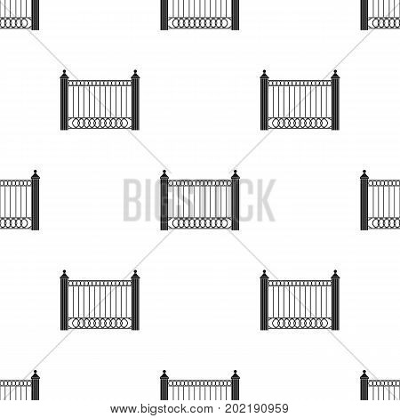 A fence of metal . A different fence single icon in black style vector symbol stock illustration .
