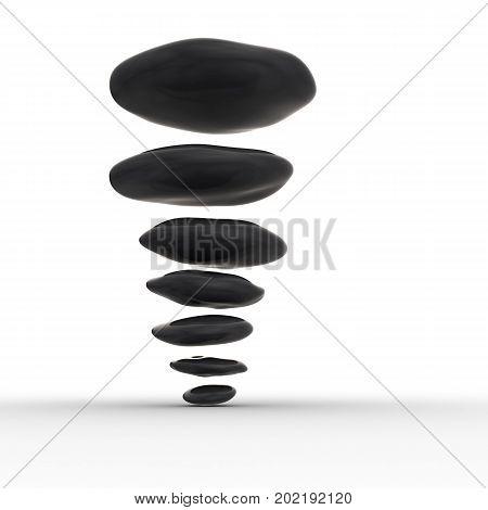 Feng shui pebbles. 3d render on white