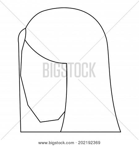 woman head faceless with straight long hair sketch silhouette in white background vector illustration