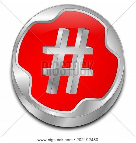 decorative red Hashtag Button - 3D illustration