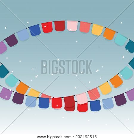 Colorful celebration flags and confetti stock vector