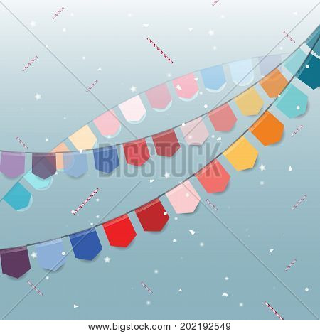 Colorful flags with star sticks and confetti stock vector