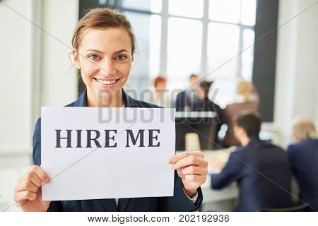 Woman as candidate wants to find a job