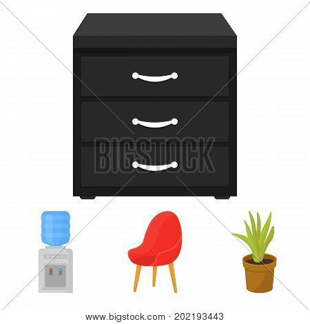 A red chair with a comfortable back, an aloe flower in a pot, an apparatus with clean water, a cabinet for office papers. Office Furniture set collection icons in cartoon style vector symbol stock illustration .