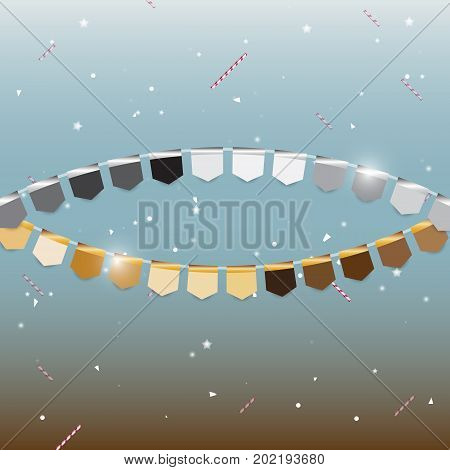 Gold and silver flags with star sweet dream stock vector