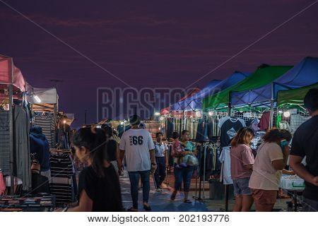 Bangsaen Chonburi Thailand - November 5: Unidentified People Shopping On Local Market Street Vendors At Night On November 5 2016 In Bangsaen Chonburi Thailand.