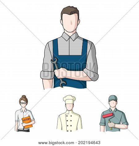 Cook, painter, teacher, locksmith mechanic.Profession set collection icons in cartoon style vector symbol stock illustration .
