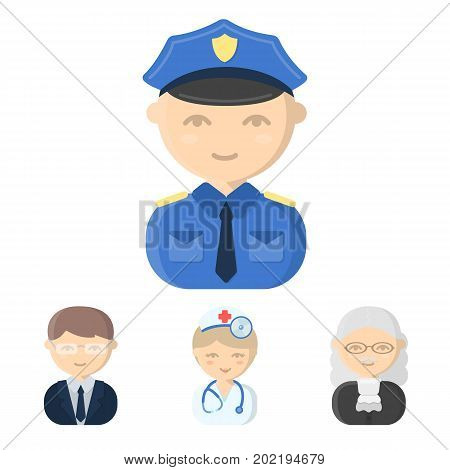 Doctor, judge, business, police.Profession set collection icons in cartoon style vector symbol stock illustration .